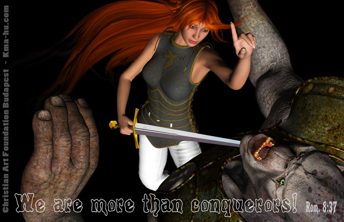 Rosalyn Swordfighter woman Girl Troll Christian 3D Art EN 700
